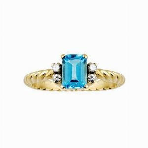 Blue Topaz & Diamond Single stone